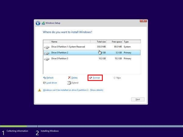 Format the Drive Partition