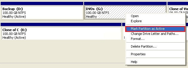 Mark USB drive Partition Active