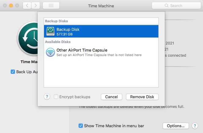Add or Remove Disk Time Machine