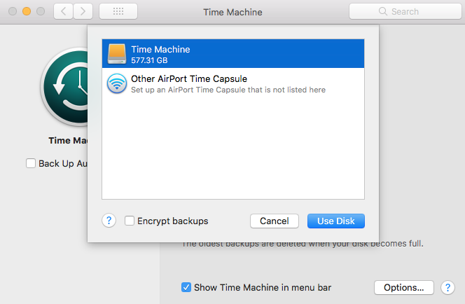 Use Disk Time Machine