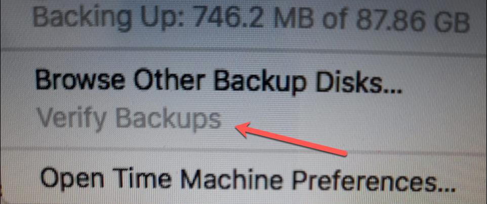 Verify Backup time machine