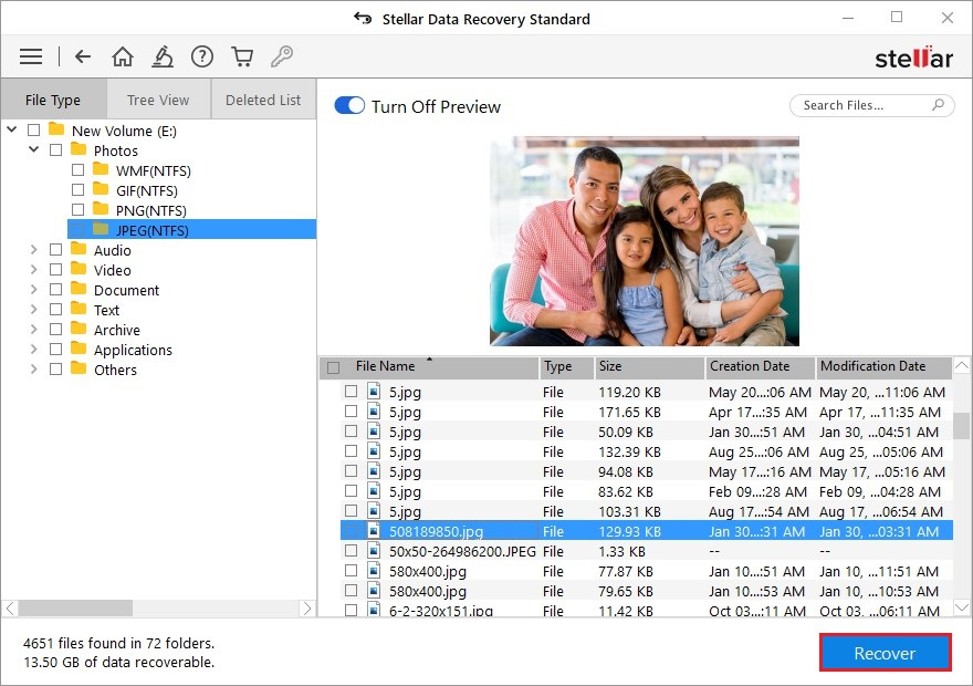 Select the File To Recover