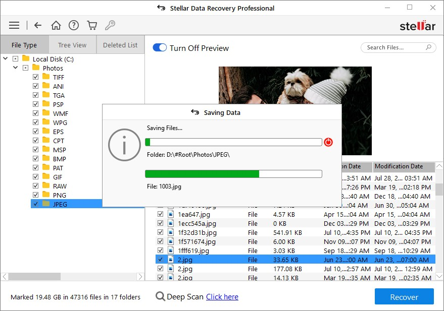 Start Saving the recover files