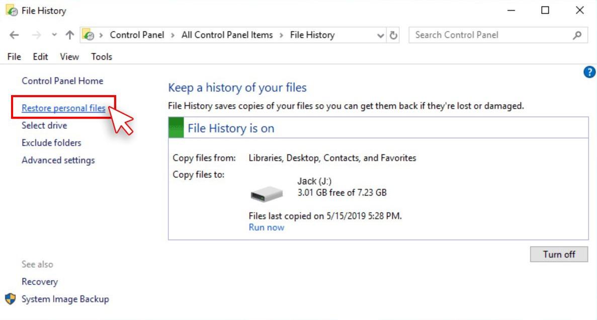 Restore Personal filter screen