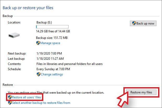 Choose Restore User File