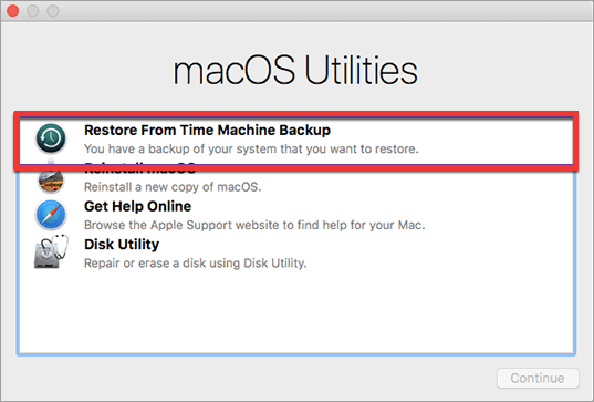 Restore Time Machine MacBook