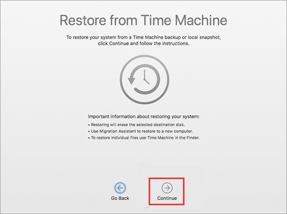 Time Machine Restore Continue