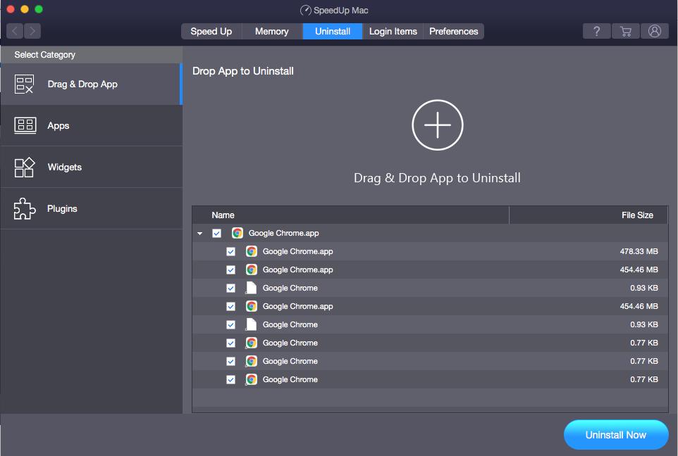 Drag & Drop App to Uninstall Screen