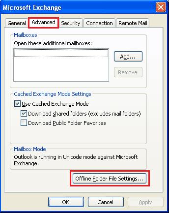 offline folder file settings Outlook