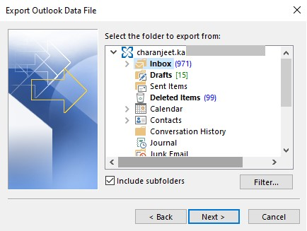 Outlook Profile or Email to Export
