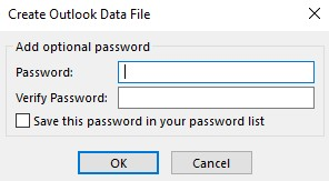 Enter password for PST File