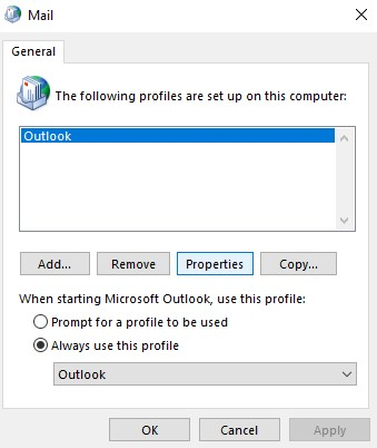 Select Outlook Profile Properties from Mail Window