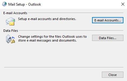 Outlook E-mail Accounts Window