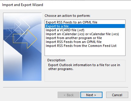Export to a File Option in Outlook