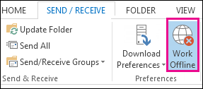 Working offline option on the Send Receive tab