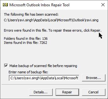 error in OST file