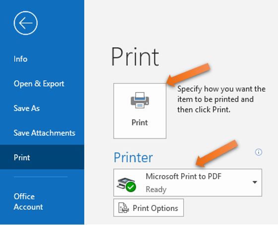 saving email as PDF using print feature