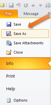 selecting save as option in Outlook