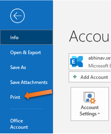 using print feature in Outlook