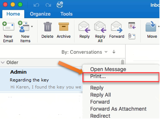 using print option in Outlook for Mac