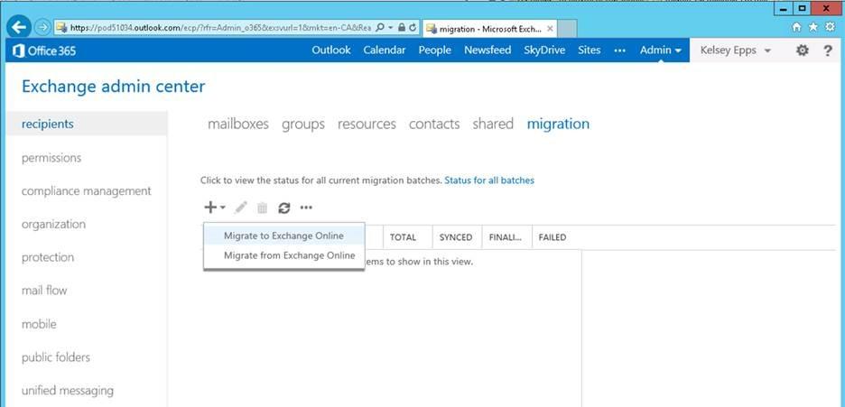 migrate exchange to online