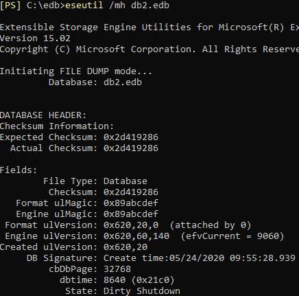 eseutil database status