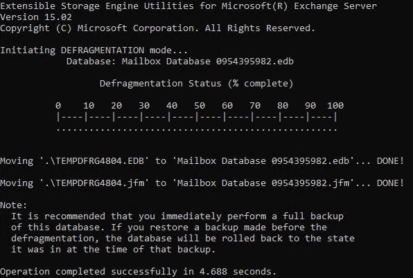 eseutil defragment database