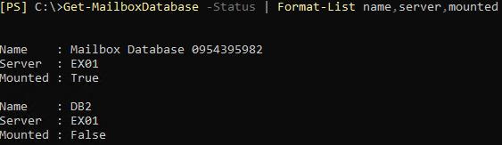 get mailbox database