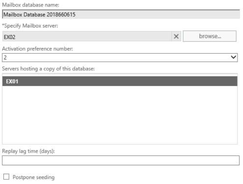 select mailbox database name