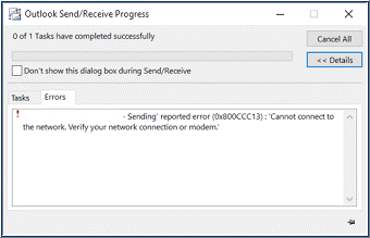 error 0x800ccc13