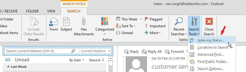 Outlook search not working