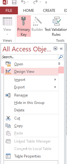 Access database objects design view