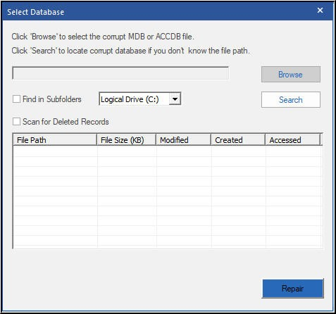 Select Corrupt Access Database File