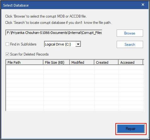 Start Access Database File Repairing