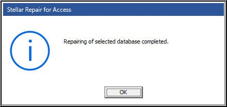 Access Database Repair Complete Message Box