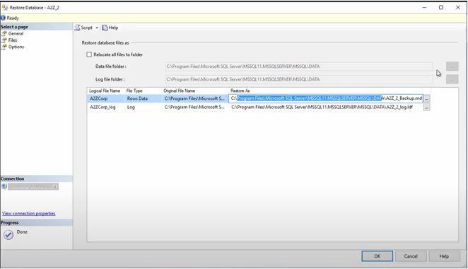 Change Directory Name to SQL Folder