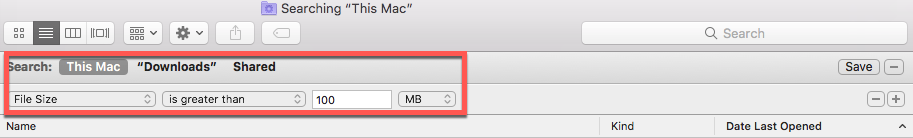 file size greater than