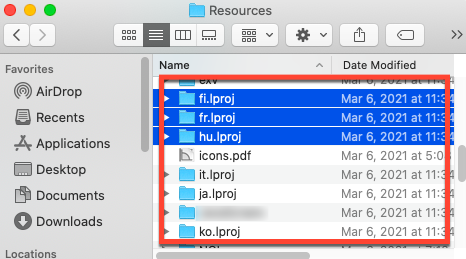 remove unwanted language files