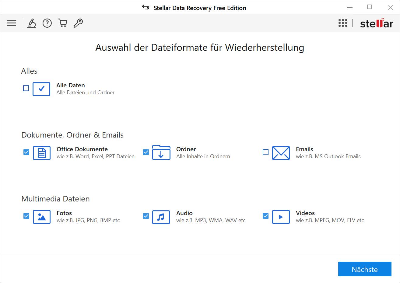 Dateiarten auswählen
