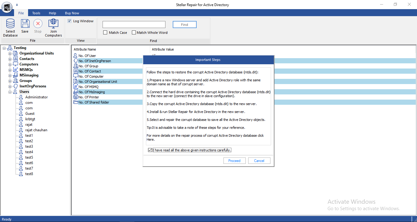 Stellar Repair for Active Directory full screenshot