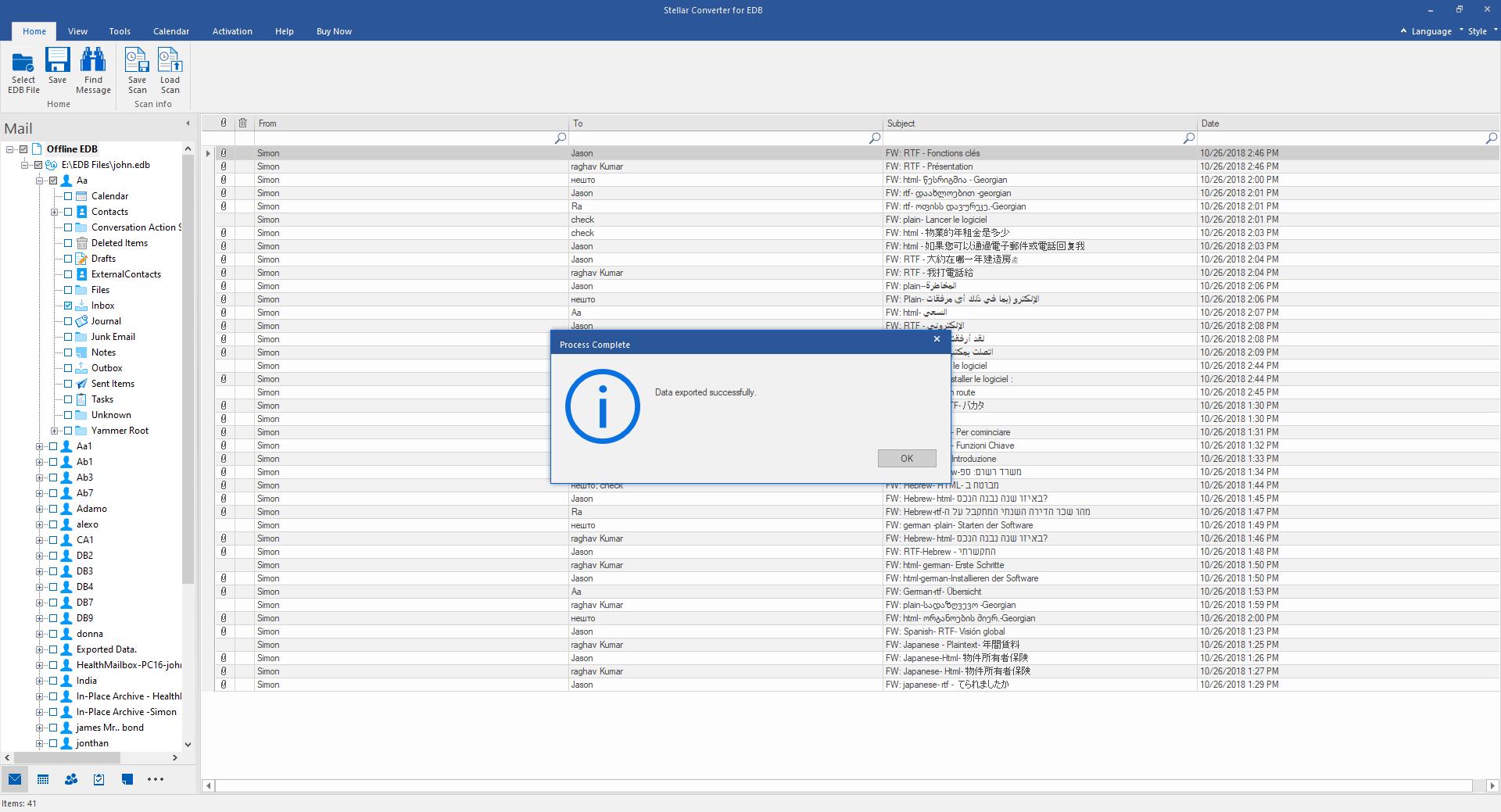 Process Complete dialog box