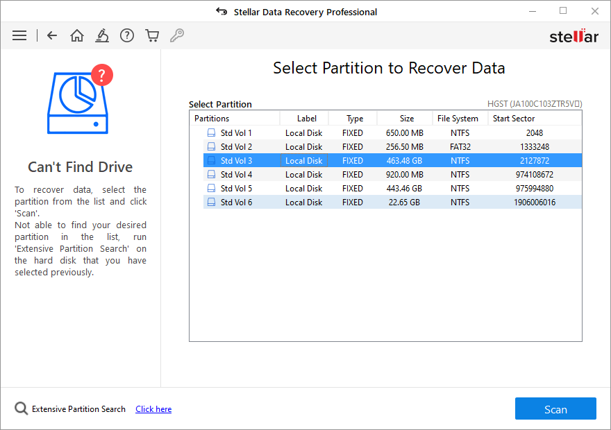 select hard drive to search lost partition