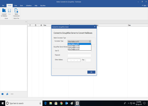 Export GroupWise Mailboxes to Office 365