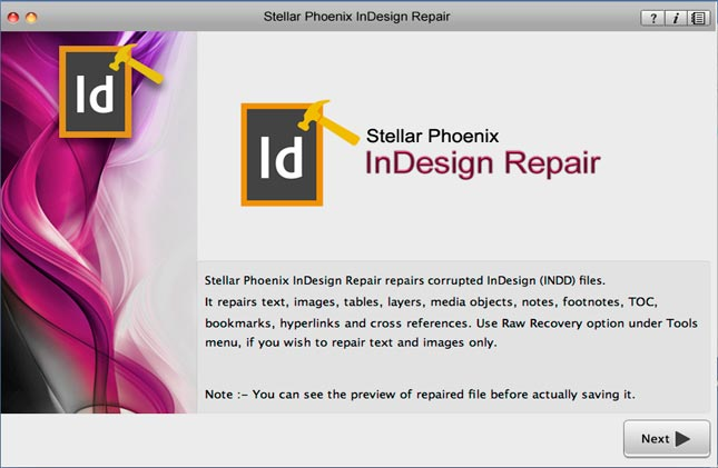 Repairs Adobe InDesign files effortlessly
