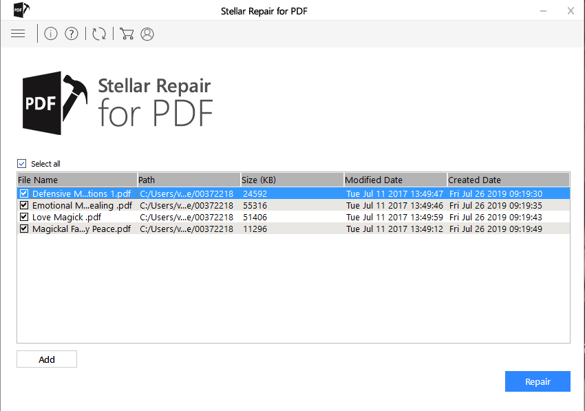 start repairing pdf file