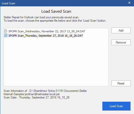 Save and Load Scan Information as DAT File post Scanning