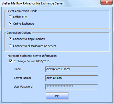 Extract Online Exchange database to different files | Stellar KB