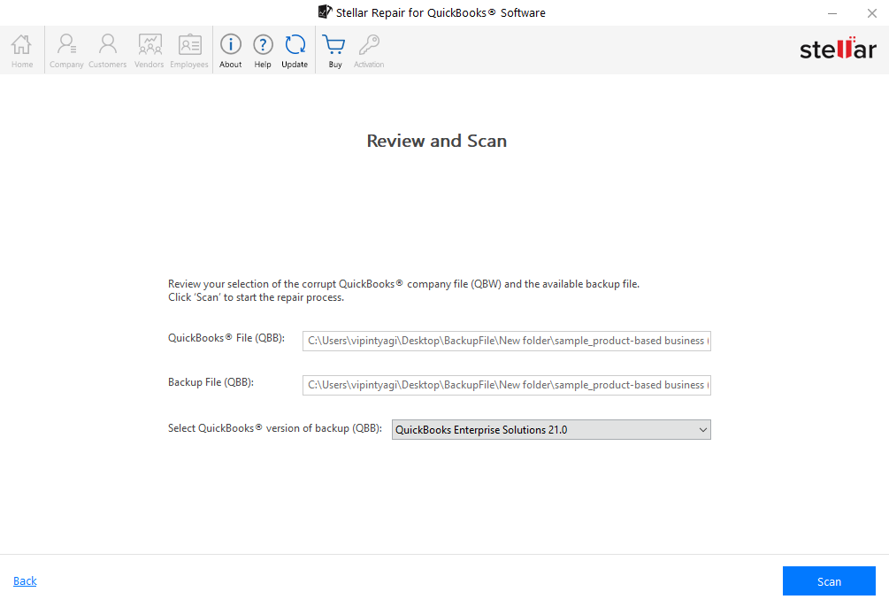 Review and Scan QBB Files