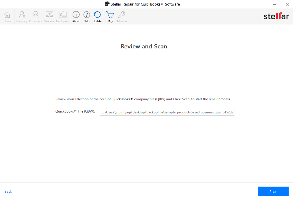 Review and Scan Quickbook Without Backup