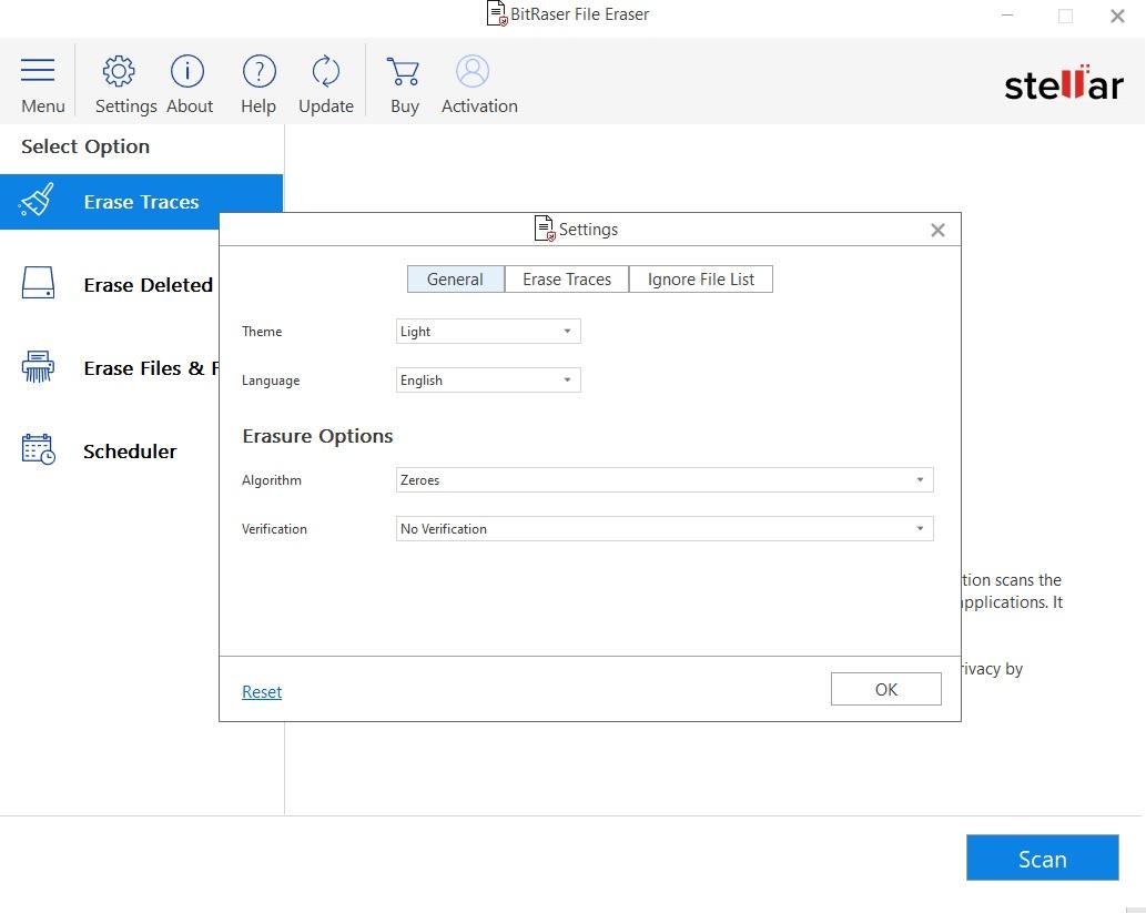 setting window of bitraser file eraser